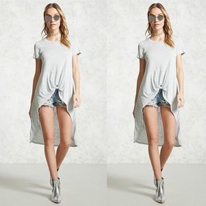 High Low Knot Front Tee